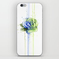 seahawks iPhone & iPod Skins featuring Seattle 12th Man Seahawks Rose Watercolor Painting Art by Olechka