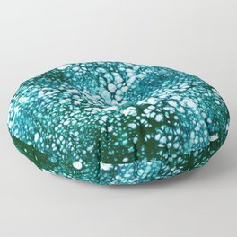 Teal Green Snow Fall Floor Pillow