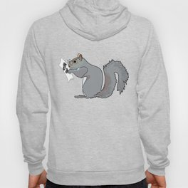 Funny and Cute Squirrel with Glasses Reads Acorn Map Hoody