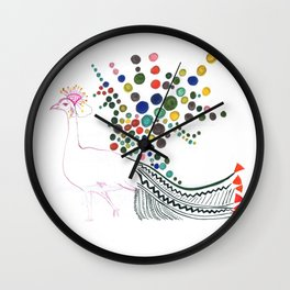 Dreamy bubble flowered Peacock  Wall Clock