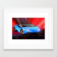 lamborghini Framed Art Prints featuring Lamborghini Huracán by JT Digital Art