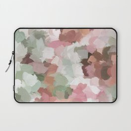 Sage Mint Green Fuchsia Blush Pink Abstract Flower Wall Art, Springtime Painting Print, Modern Wall Laptop Sleeve