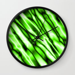 Shiny metal crooked mirror with green reflective diagonal stripes. Wall Clock