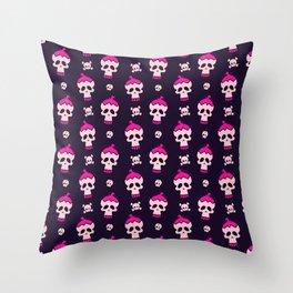 Pink Skulls Pattern Throw Pillow