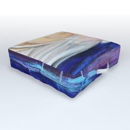 Flourescent Waterfall Painting. Waterfall, Abstract, Blue, Pink. Water. Jodilynpaintings. Outdoor Floor Cushion