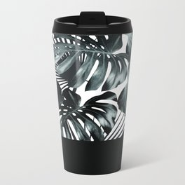 Palm Leaves and Black Metal Travel Mug