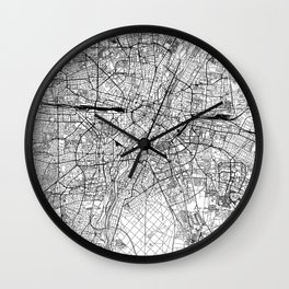 Munich White Map Wall Clock