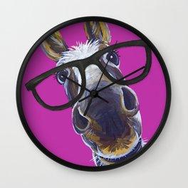 Up Close Donkey Art, Donkey with Glasses Art Wall Clock
