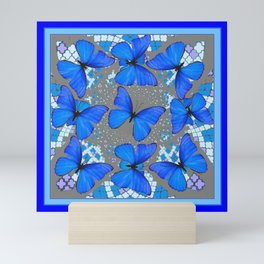 Decorative Blue Shades Butterfly Grey Pattern Art Mini Art Print