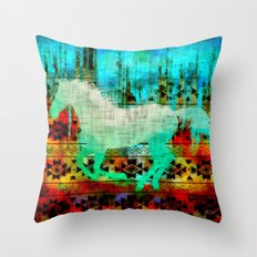 A southwest winter horse Throw Pillow