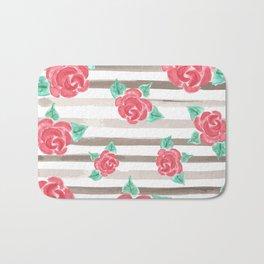Stripes and Roses // Watercolor Bath Mat