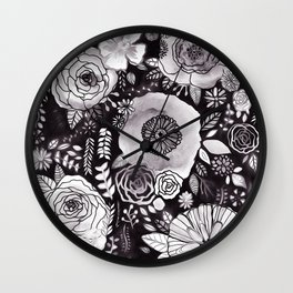 Black&White Floral Mix Wall Clock