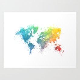 World Map splash 1 Art Print