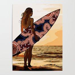 Authentic Aboriginal Art - Surfs up Australia Poster