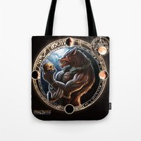 werewolf Tote Bags featuring WEREWOLF by TheMagicWarrior