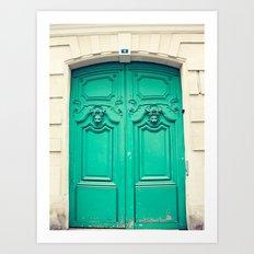 Paris door, turquoise Art Print