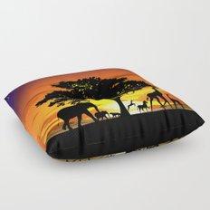 Wild Animals on African Savanna Sunset  Floor Pillow