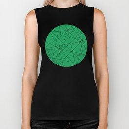 Fractal pattern of black intersecting lines on a lush green background. Biker Tank