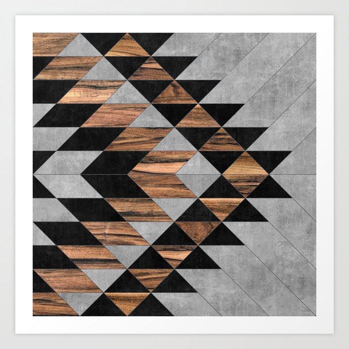 Urban Tribal Pattern No.10 - Aztec - Concrete and Wood Kunstdrucke