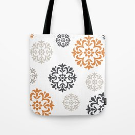 Flowers in Grey and Mustard Tote Bag