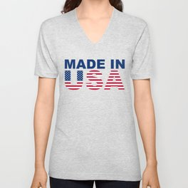Made in USA text with USA flag Unisex V-Neck