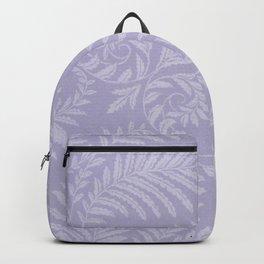 Purple Damask Fern Leaf Fancy Scroll Pattern Backpack