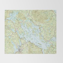 Lake Winnipesaukee Map (1986) Throw Blanket