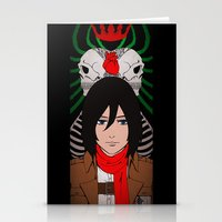shingeki no kyojin Stationery Cards featuring Shingeki no Kyojin - Mikasa card by kamikaze43v3r
