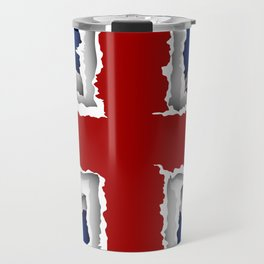 design flag from torn papers with shadows Travel Mug