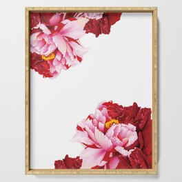 Floral Theme- Bi-color Peony Flower - Watercolor Illustration Serving Tray