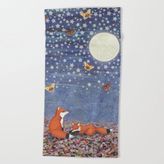 moonlit foxes Beach Towel