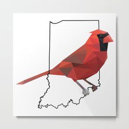 Indiana – Northern Cardinal Metal Print