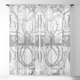 roses need thorns vector art white Sheer Curtain