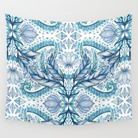 lily Wall Tapestries featuring Lily, Leaf & Triangle Pattern – blues by micklyn