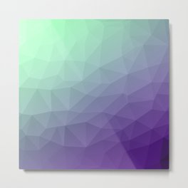 Purple green ombre gradient geometric mesh Metal Print