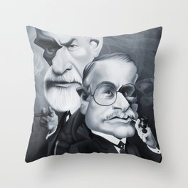 Sigmund Freud and Carl Jung Throw Pillow