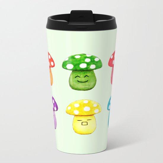 cute mushroom emoji watercolor painting  Metal Travel Mug