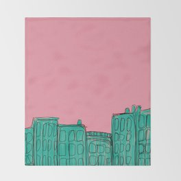 pink and green cityscape Throw Blanket