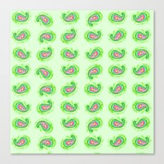 Watermelon Green Paisley Watercolor Canvas Print