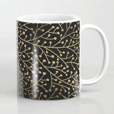 Gold Berry Branches on Black Mug