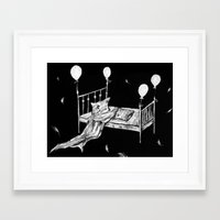 bed Framed Art Prints featuring Bed by woman