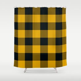 Yellow & Black Buffalo Plaid Shower Curtain