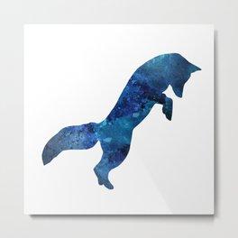 Watercolour Fox Blue Metal Print