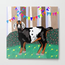 Goat Having a Woodland Party Metal Print