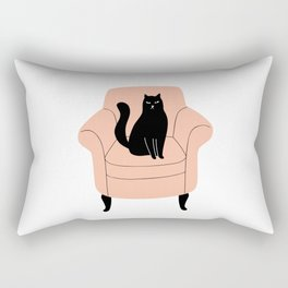 black cat on a chair Rectangular Pillow