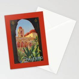 vintage 1920s Palermo Sicily Italian travel ad Stationery Cards