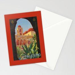 vintage 1920s Palermo Sicily Italian travel ad Stationery Cards