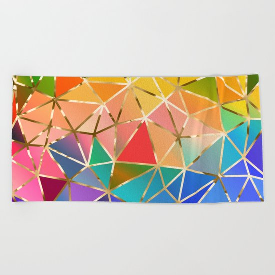 Rainbow geometric #9 Beach Towel