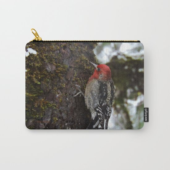 Red-Breasted Sapsucker in Christmas Snow Carry-All Pouch