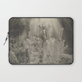 """Rembrandt - Christ Crucified Between the Two Thieves (""""The Three Crosses"""") (1653) Laptop Sleeve"""